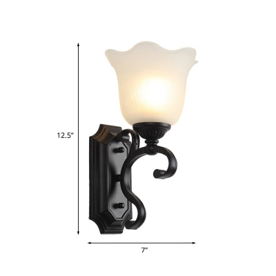 1 Bulb Sconce Light Countryside Living Room Wall Mount Lamp with Bloom Milky Glass Shade in Black