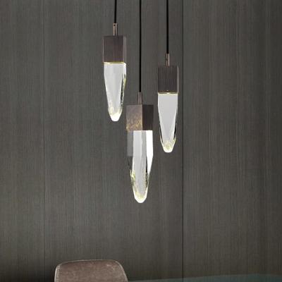 1-Head Crystal Block Pendant Lamp Simple Black Irregular Living Room Hanging Light Fixture