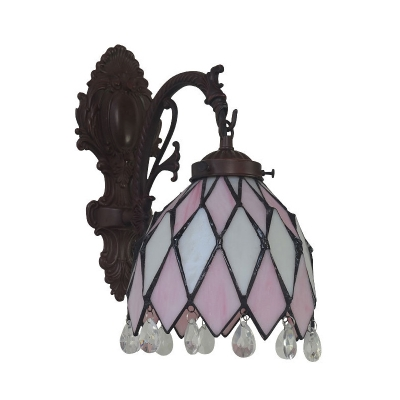 1 Head Dining Room Wall Light Tiffany Bronze Sconce with Bell Diamond-Cut Glass Shade and Crystal Fringe