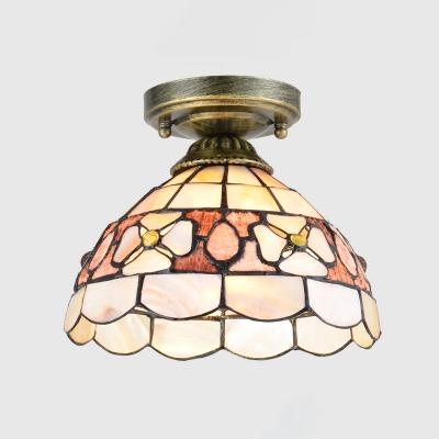 1-Light Flush Mount Lamp Tiffany Style Pink/Orange/Beige Glass Camellia/Peony/Flower Ceiling Light for Corridor