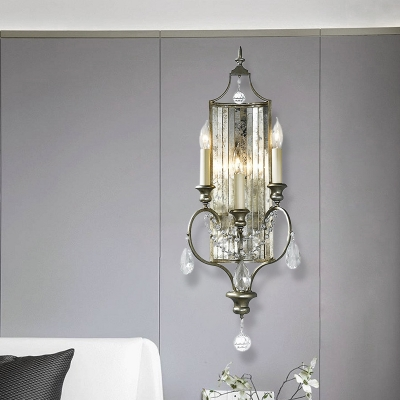 Antiqued Silver Candlestick Wall Lamp Countryside Iron 1/3-Light Living Room Sconce with Crystal Backplate