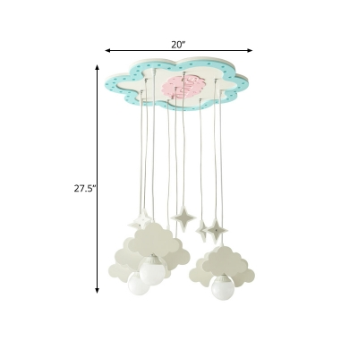 Cartoon Cloud and Star Pendant Wood 3 Bulbs Kids Bedroom Multiple Hanging Light in Blue-White