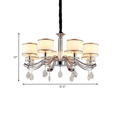 Chrome Finish 8-Bulb Suspension Light Modern Fabric Cup Shaped Chandelier Lamp with Crystal Teardrop