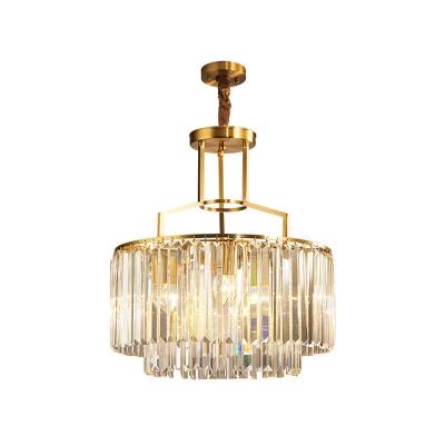 Crystal Brass Chandelier Light Fixture 2 Tiers 3-Head Postmodern Pendant Lamp for Living Room