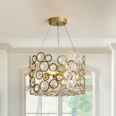 Inserted K9 Crystal Circles Chandelier Contemporary 4 Lights Dining Room Hanging Lamp Kit in Gold