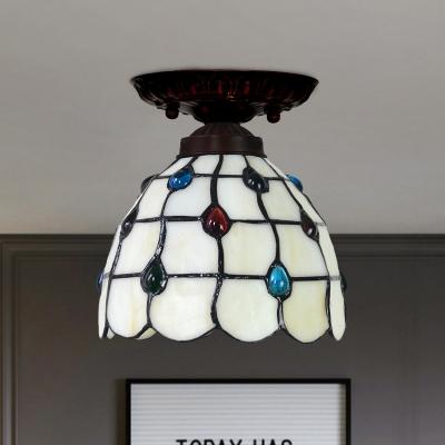 Jeweled Bell/Globe Flush Light Tiffany Gridded Glass 1 Bulb Beige Close to Ceiling Lamp
