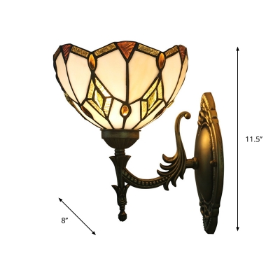 1 Bulb Wall Sconce Light Baroque Diamond Pattern Hand Cut Glass Wall Lamp with Scalloped Trim in Bronze