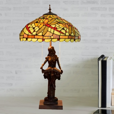 2 Bulbs Bedside Table Lamp Tiffany Style Yellow/Orange/Green Dragonfly Patterned Night Light with Bowl Stained Art Glass Shade