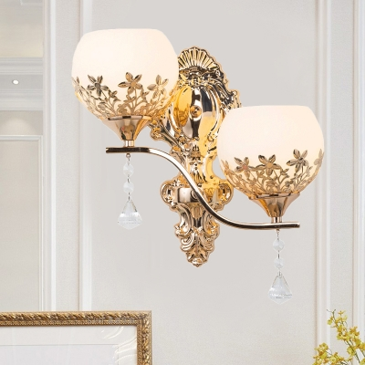 2 Lights Wall Sconce Traditional Dome Milk Glass Wall Mount Light Fixture with Flower Decor in Gold