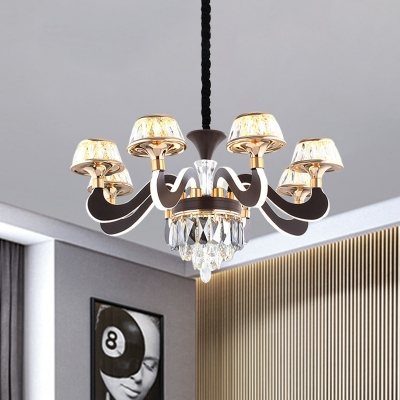 6-Light Pendant Lighting Fixture Modern Living Room Chandelier with Tapered Beveled Cut Crystal Shade in Black