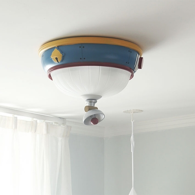 Bell Flush Mount Ceiling Light Kids Opal Matte Glass 3-Head Kindergarten Flushmount in Blue