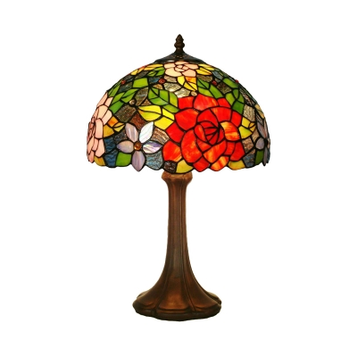 Bronze Rosebush Night Lighting Tiffany 1-Light Stained Art Glass Nightstand Lamp for Bedroom