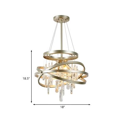 Crystal Cascade Chandelier Modern Stylish 4-Light Dining Room Pendant Light with Gold Interlocking Rings