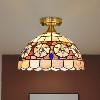 Tiffany Blossom-Pattern Bowl Ceiling Lamp 1 Bulb Hand Cut Shell Flush Light Fixture in Brass