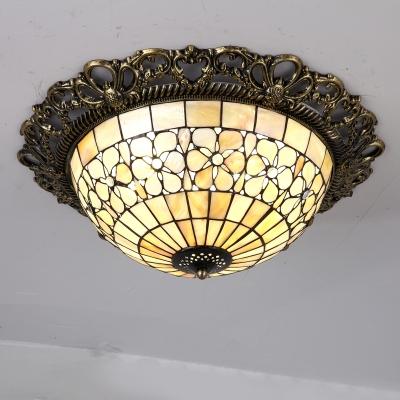 Brass Hemisphere Ceiling Flush Tiffany 3 Bulbs Shell Flush Mount Lighting with Carved Edge