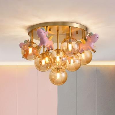 Bubble Amber Glass Semi Flush Chandelier Cartoon 9 Heads Gold Ceiling Mount Light wit Unicorn Drop