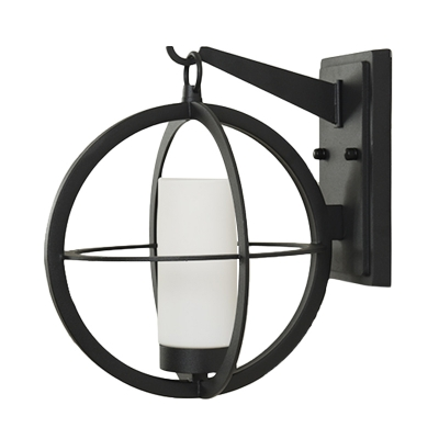 Classic Globe Cage Wall Mounted Light 1-Light Metal Wall Sconce in Black with Inner Tube Opal Glass Shade