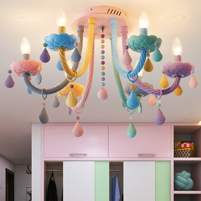 Iron Candelabra Flush Chandelier Macaron 5/6 Heads Multi-Color Semi Mount Lighting with Stained Glass Drop