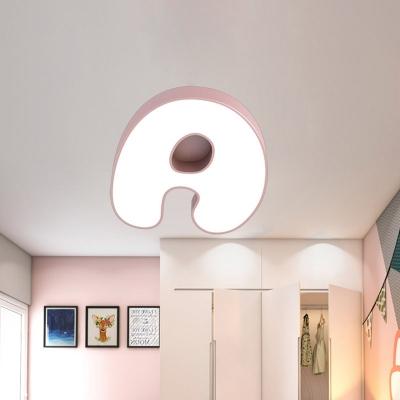LED Bedroom Flush Light Kids White Flush Mount Lighting Fixture with Letter Acrylic Shade