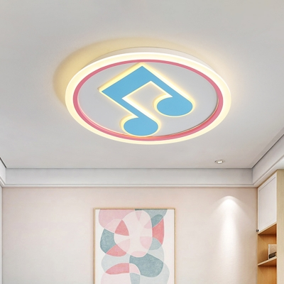 Music Note Acrylic Ceiling Mounted Lamp Creative LED Blue Flushmount Light in White/Warm Light
