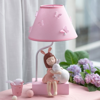 Pink Resin Nightstand Lamp Girl Hug The Rabbit Statue 1 Head Pastoral Night Light with Cone Shade for Girl Bedroom
