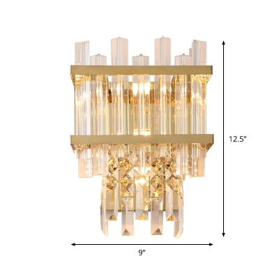 Postmodern Rectangle Flush Mount 3 Lights Clear Fluted Crystal Wall Sconce in Gold