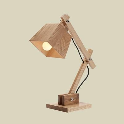 Trapezoid Desk Light Modernist Wood 1 Light Beige Table Lamp with Adjustable Arm