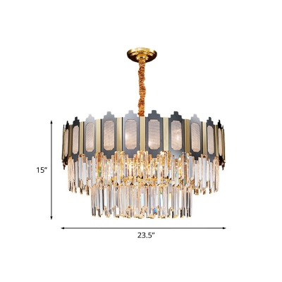 10 Lights Chandelier Lamp Mid Century Tiered Crystal Icicle Suspension Lighting in Black and Gold