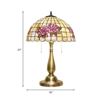 2 Lights Night Table Light Victorian Lattice Bowl Shell Pull Chain Desk Lamp in Gold with Rose Pattern