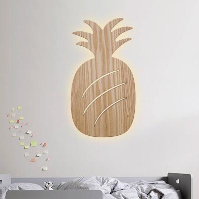 Car/Pineapple/Cactus Battery Wall Light Kids Creative Wood Nursery School Flush Wall Sconce in Beige