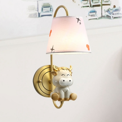 Cartoon Single Wall Light Fixture Cheerful Yellow Chick/Blue Snake/Gold Bull Sconce with Printed Fabric Lampshade