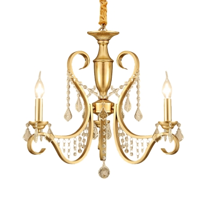 Gold Swirl Arm Candle Chandelier Rural Metal 3-Head Living Room Suspension Pendant with Crystal Stands