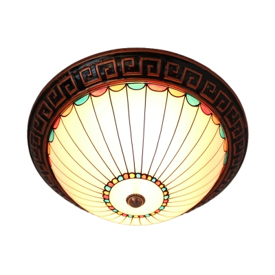 Half-Sphere Opal Glass Flush Light Vintage 2-Head Bronze Ceiling Mounted Lamp with Oriental Trim