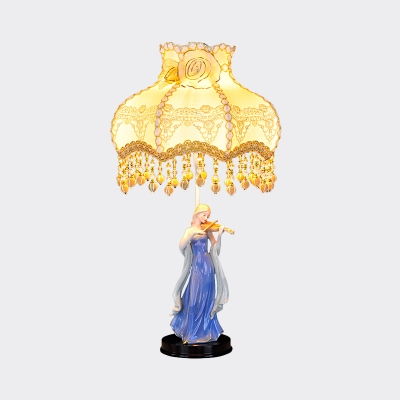 Lady Playing Guitar Ceramic Night Light Korean Flower 1 Head Family Room Table Lamp with Fabric Shade in Beige