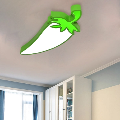 Vegetables Acrylic Flush Mount Light Kids LED White Flushmount Lighting for Bedroom