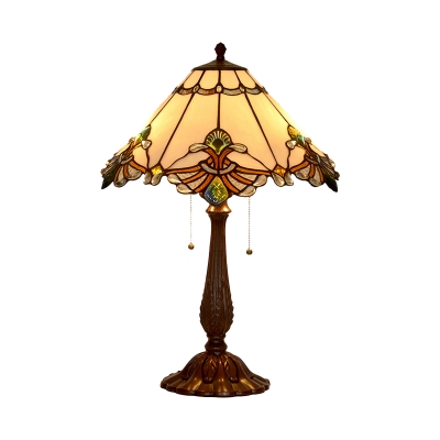White Glass Conic Nightstand Light Mediterranean 2-Light Bronze Scalloped Edge Table Lamp with Pull Chain