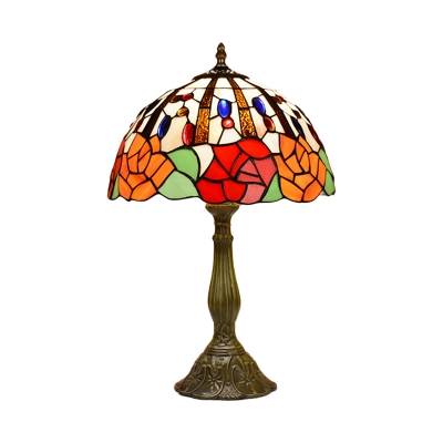 1-Bulb Bedside Night Light Tiffany Red/Orange Floral Patterned Table Lamp with Domed Stained Art Glass Shade