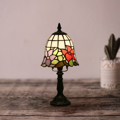 Bell/Conic Cut Glass Night Lamp Mediterranean 1 Head Pink/Red/Purple Floral Patterned Table Lighting