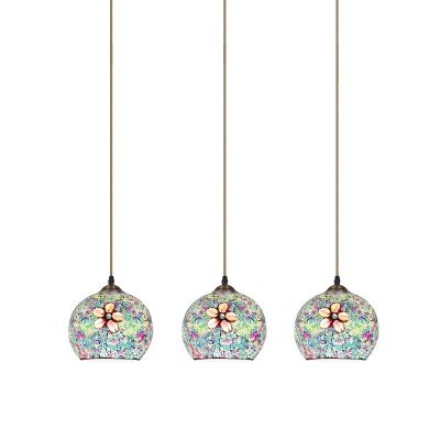 Bronze 3 Bulbs Multi Pendant Tiffany Stained Art Glass Sphere Suspended Lighting Fixture with Floral Pattern
