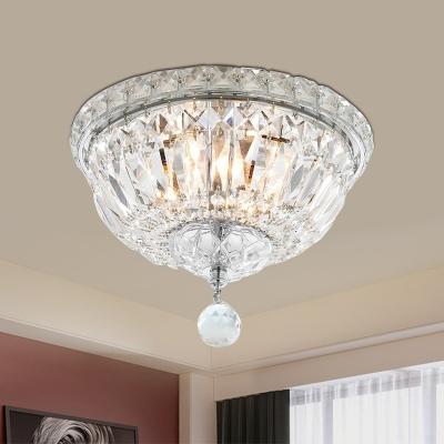Clear Crystal Bowl Ceiling Light Modernism 3 Heads Bathroom Flush Mount Lighting Fixture