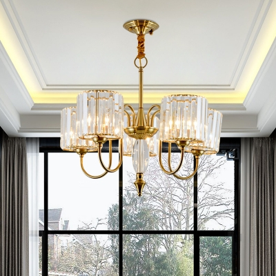 Cup Shade Dining Hall Up Chandelier Postmodern Ribbed Crystal 5-Light Gold Hanging Light Fixture