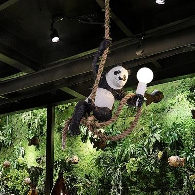 Jungle Panda Pendant Lamp Cartoon Resin 1 Bulb Black and White Pendulum Light with Rope Cord