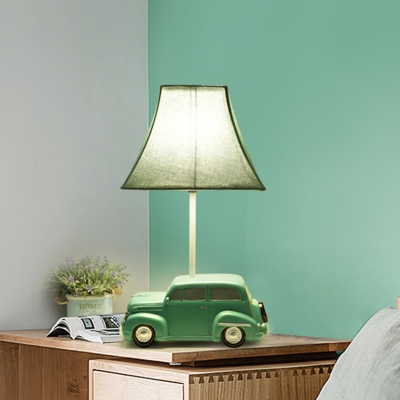 Pagoda Fabric Table Lamp Kids Single Bulb Blue Nightstand Light With Car Base For Boy Bedroom Beautifulhalo Com