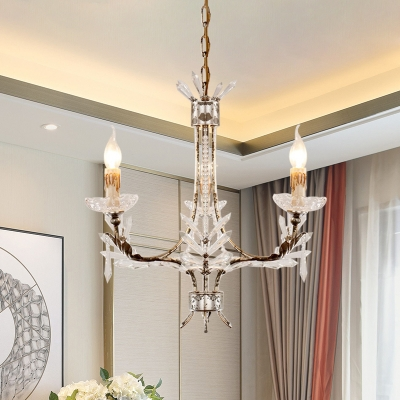 Rust Candlestick Chandelier Countryside Crystal 3-Bulb Dining Table Ceiling Pendant Lamp