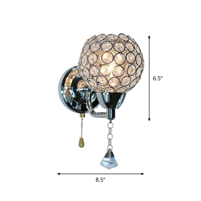 Single Ball Pull-Chain Wall Lamp Simplicity Chrome Cut Crystal Wall Mounted Fixture