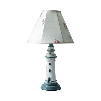 1 Bulb Faceted Bell Shade Table Lamp Coastal White Tower/Boat Pattern/Striped Fabric Night Light with Lighthouse Base