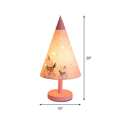 1 Bulb Rabbit Pattern Fabric Table Lamp Pastoral Pink Deep Cone Kids Bedside Nightstand Light