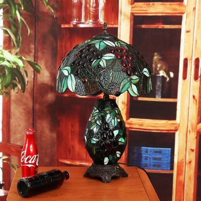 2 Lights Night Light Tiffany Domed Cut Glass Fruits Patterned Nightstand Lighting in Blackish Green with Vase Base