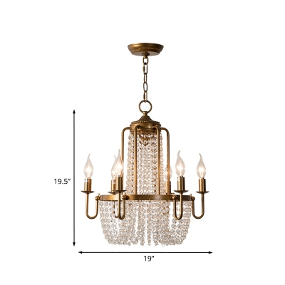 6-Head Crystal Chain Chandelier Rustic Antiqued Gold Candle Dining Room Pendant Light Kit