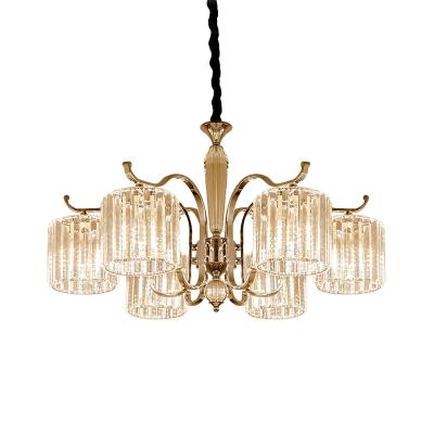 6 Lights Cylindrical Chandelier Modernist Clear Prismatic Crystal Pendant Ceiling Light